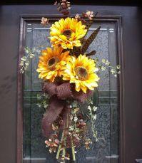 Fall Wreath Yellow Sunflower Swag Summer Wreath Front Door ...