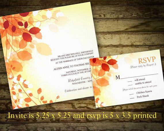 Diy Wedding Invitations Printables Autumn Tones Printable