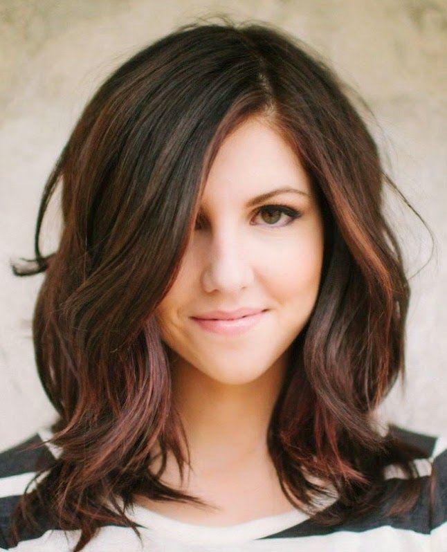 Braunes Mittellanges Haar Frisuren Pinterest Haarfrisuren
