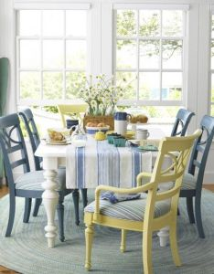 Yellow  blue chairs beach house decorating ideas laid back decor country living also nookp home   want is to be pinterest rh