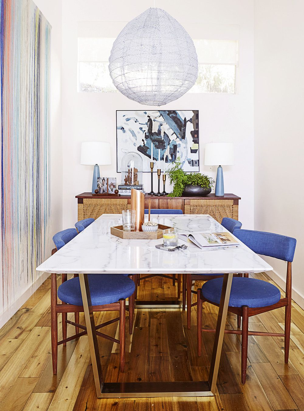 Emily Henderson Home Makeover Good Housekeeping Marble Dining Tables Modern Chairs And