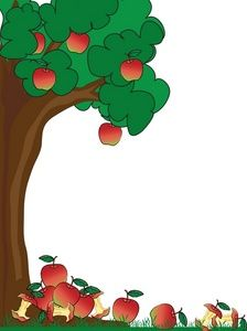 green page border of apple trees