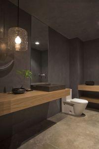 Grey Bathroom Design with Mid-toned Wood | Bathroom ...