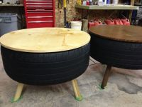 Recycled Tire Coffee Table | Tire table, Tired and Plywood