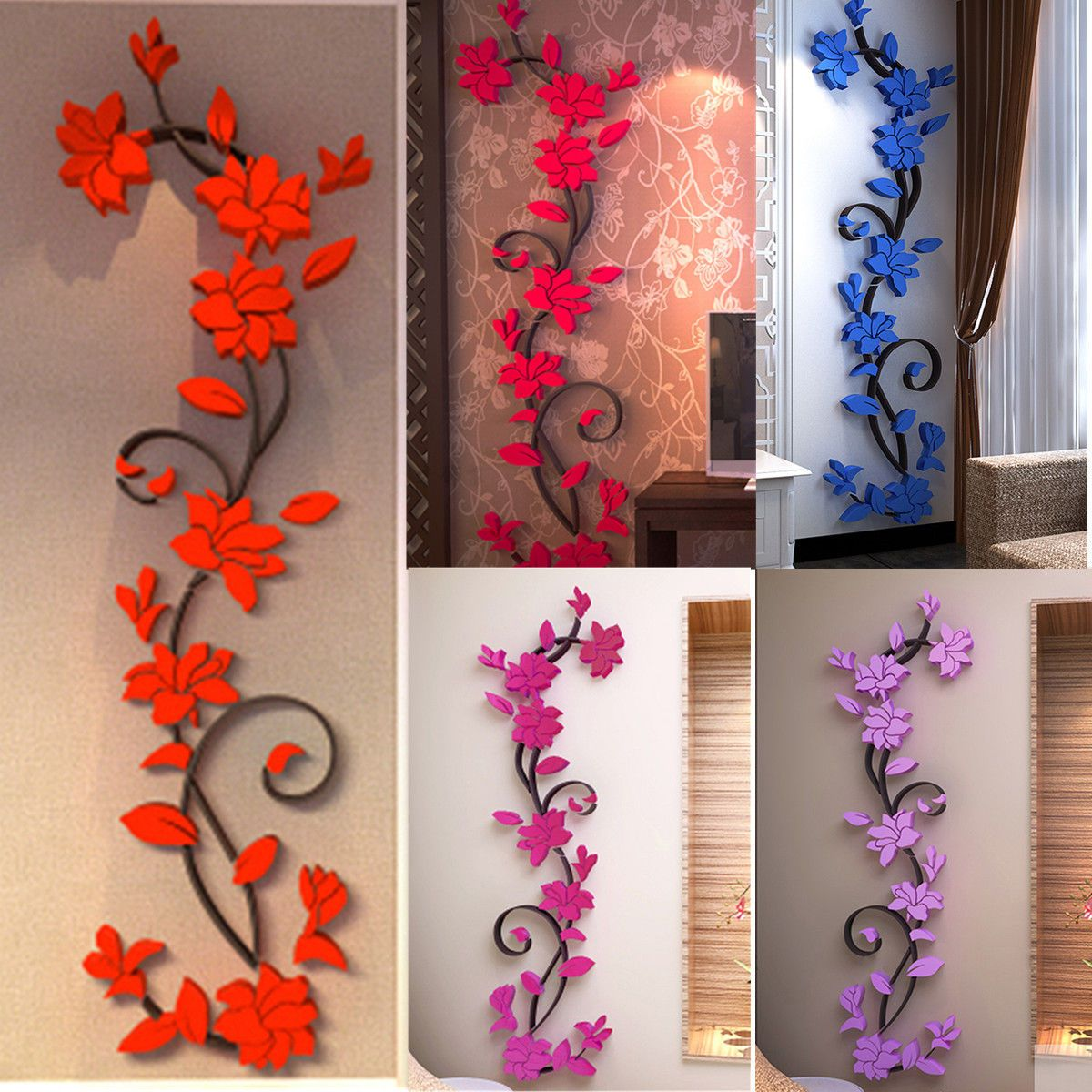 flower home  room decor diy wall sticker removable acrylic decal mural also rh za pinterest