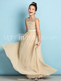 A-Line Scoop Neck Floor Length Chiffon Lace Junior ...