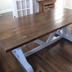Black Walnut Kitchen Table Cabinet Hardware 7 Ft Trestle Style Farm With Dark Stained
