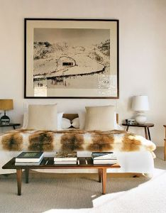 The master bedroom in aspen home of aerin lauder interior design by and daniel romualdez an andreas gursky photo hangs above low oak bed also contemporary style   ski lodge dream rh pinterest