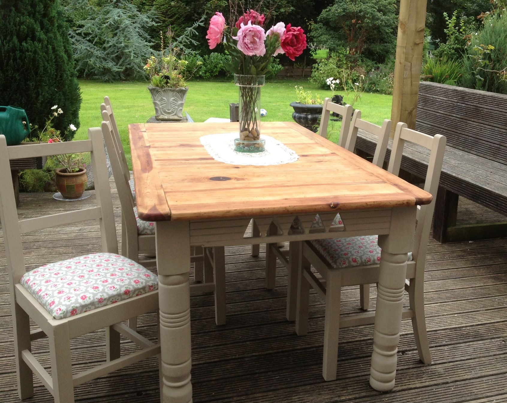 Large Old Pine Table And Chairs Updated With Chalk Paint