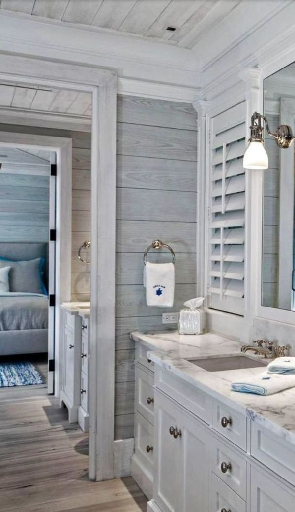 Farmhouse Bathroom with Shiplap Walls