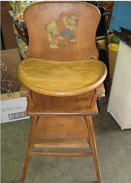 retro high chairs babies chromcraft table and antique lehman baby guard wood chair wooden with cowboy motif applique ...
