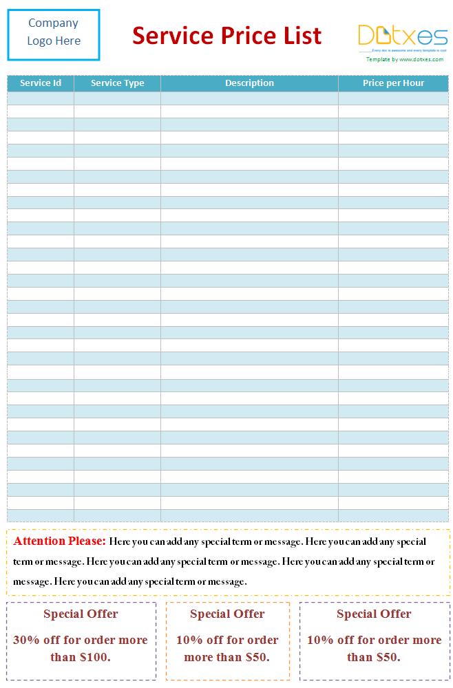 pricelist template word