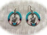 Native American Style Hand Beaded Hoop Earrings w/ Turtle ...