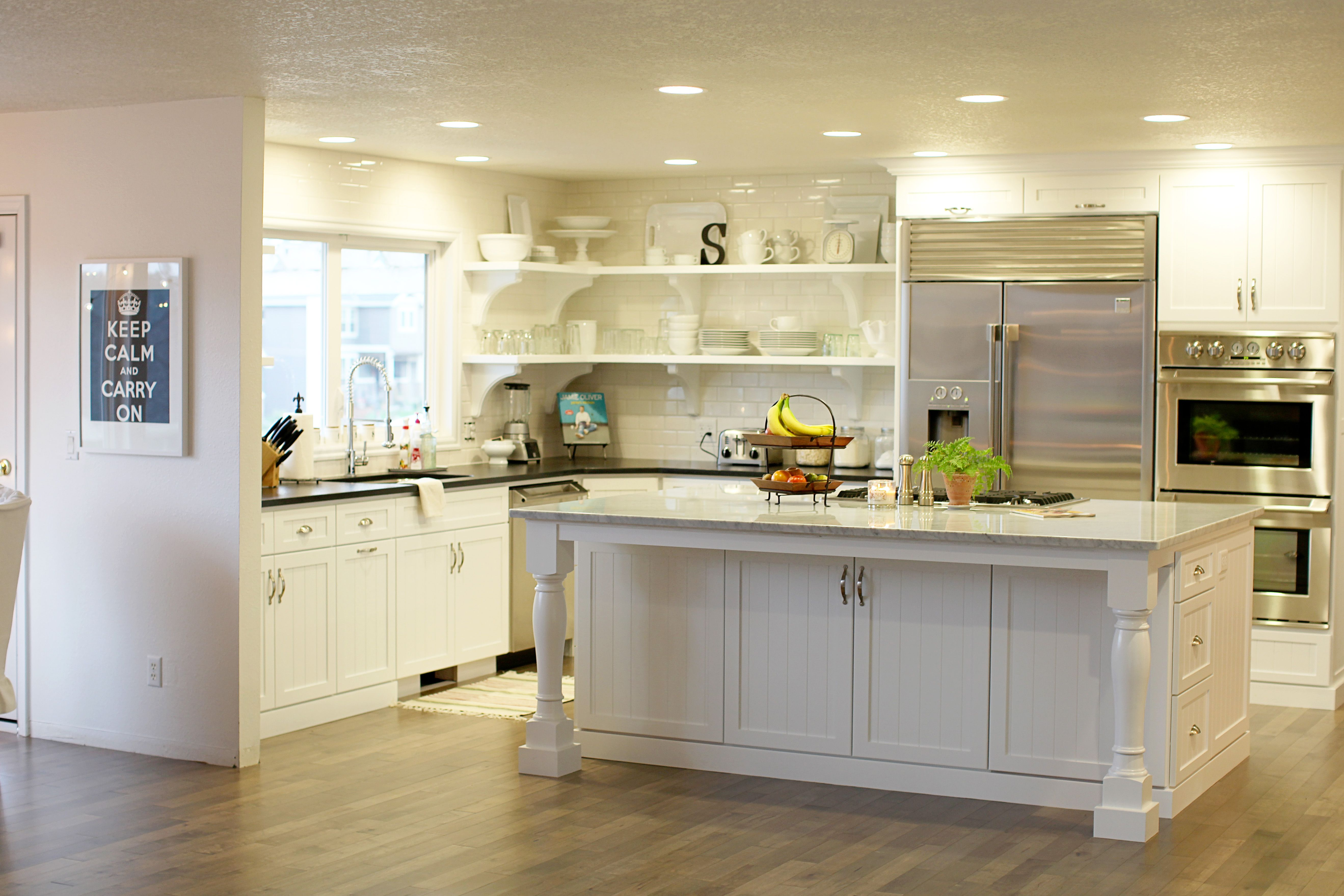open kitchen cabinets cherry brook with shelves and under island storage options