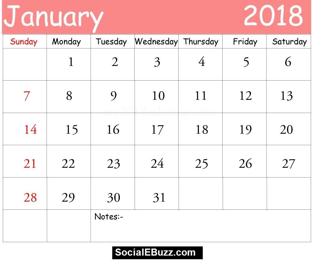 January Calendar Printable Template January Calendar January Calendar