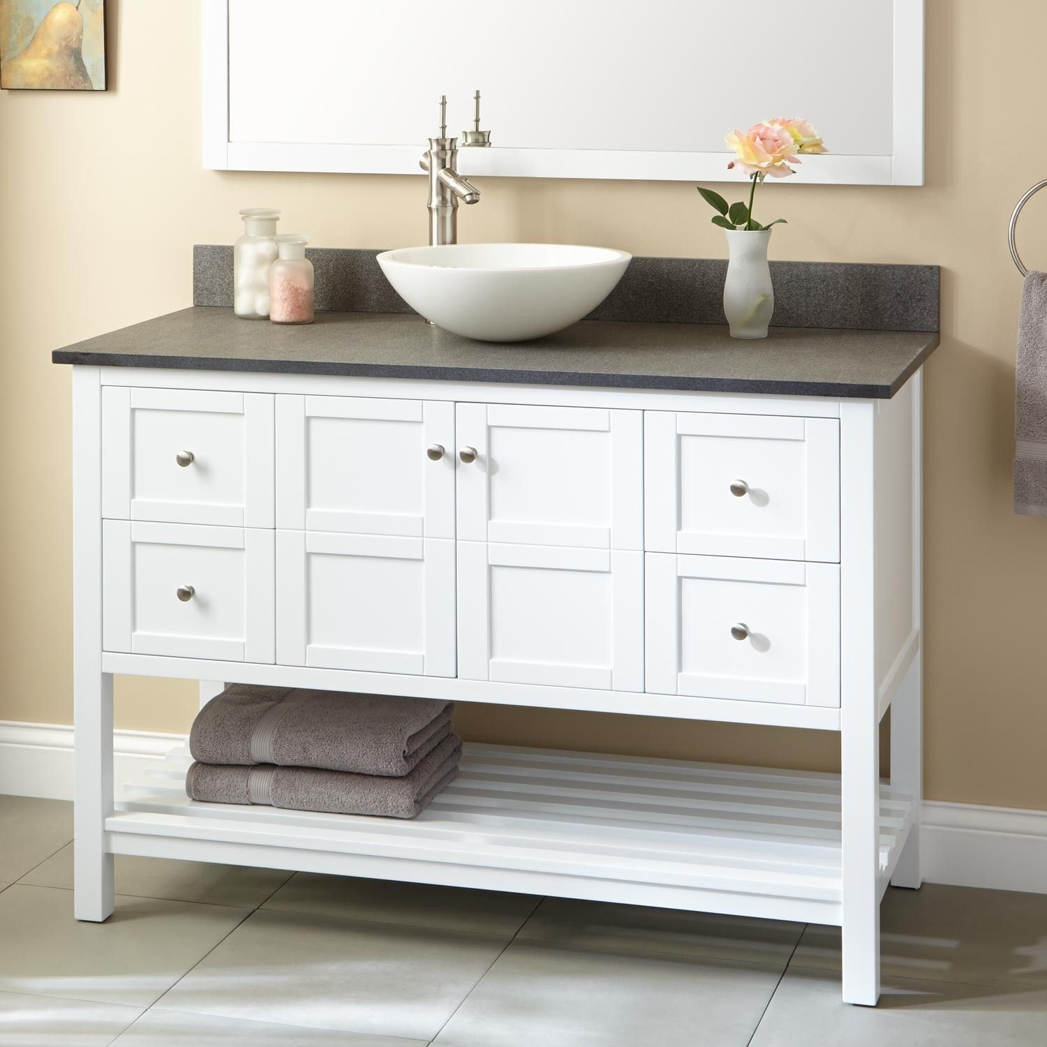 White Bathroom Vanity Ideas 48 Quot Everett Vessel Sink Vanity White Discover More