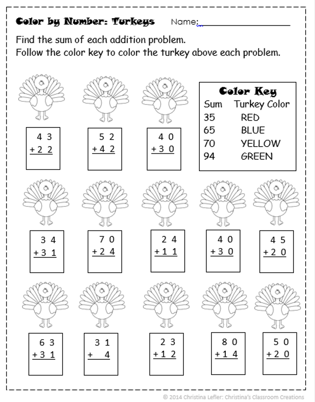 A Thanksgiving Freebie- Double-Digit Addition and a Color