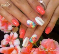 Melon orange white blue Hawaiian flowers nails | Nail art ...