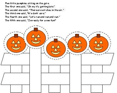 5 Little Pumpkins Sitting On A Gate Printable Five Singable Picture