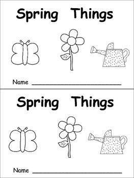 Spring Things Emergent Reader- Kindergarten- April and