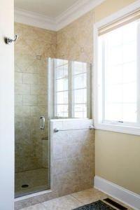 Walk-In Shower with Half Wall | Shower door and half glass ...