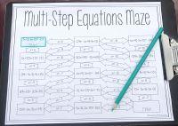 Solving Multi-Step Equations Maze | Distributive property ...