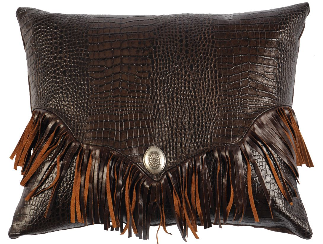 Gator leather pillow with fringe  Decorative Leather