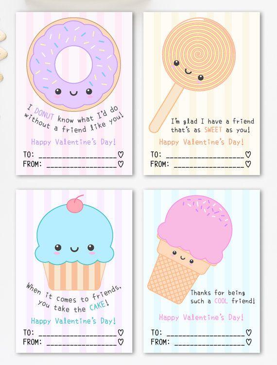 Cute Valentine Cards Printable Kawaii Sweets Theme