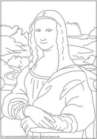 Basic and Simple Mona Lisa Coloring Pages for Toddlers ...