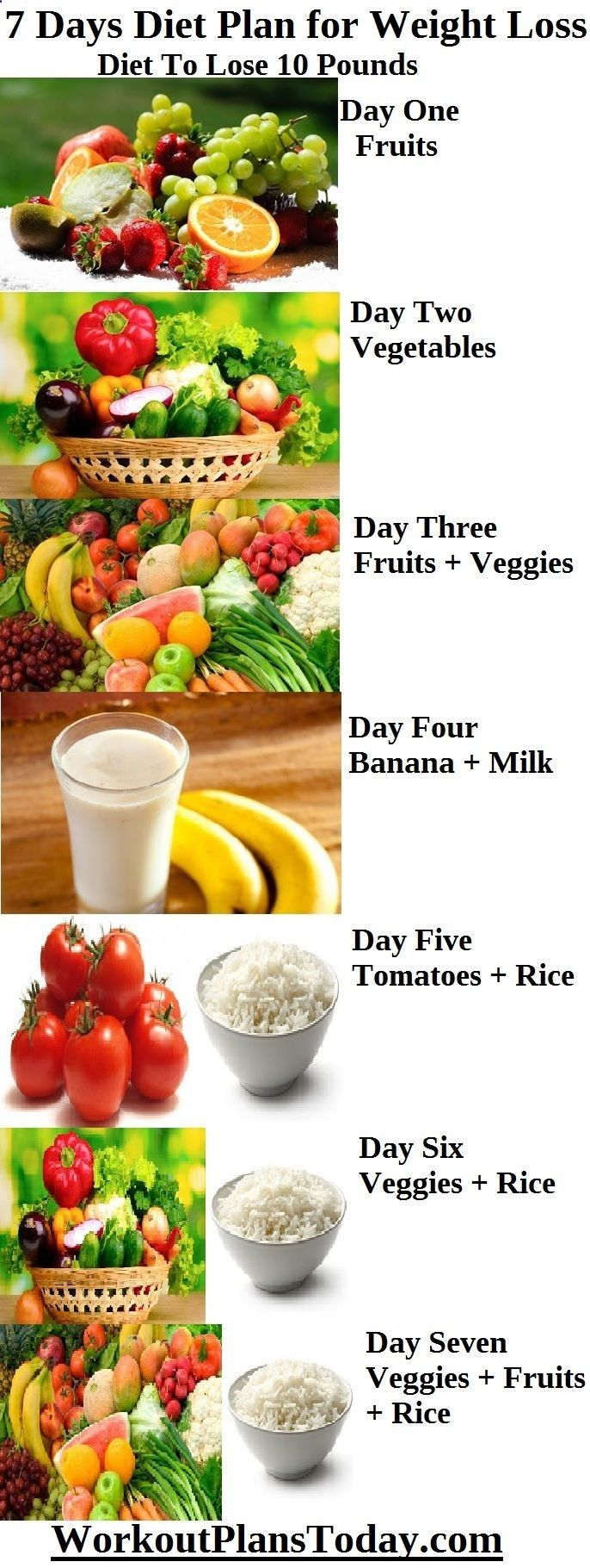 7 days diet plan for weight loss to lose 10 pounds day