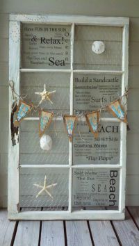 Beach theme antique window. For many more awesome old ...
