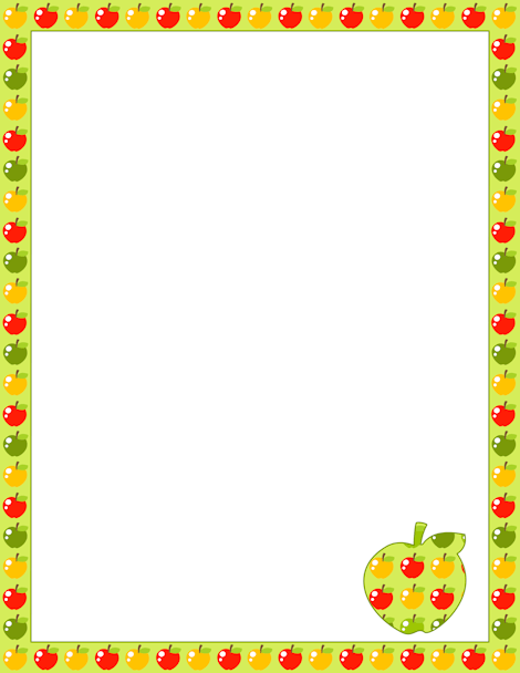 green red and yellow apple border