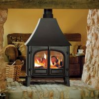 Fireplace Traditional Freestanding Fireplace: Black Metal ...