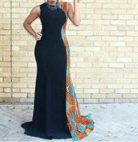 Bola Plain and Patterned Ankara Floor Length Dress ...
