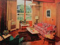 1950s TV Room Patterned Couch Vintage Interior Design ...