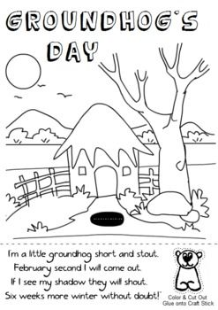 Groundhog's Day Coloring Sheet. Cut out the groundhog
