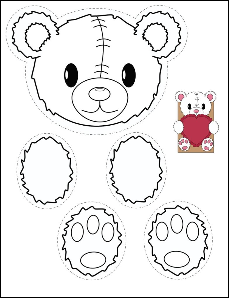 Bear and bunny printables for creating classroom valentine