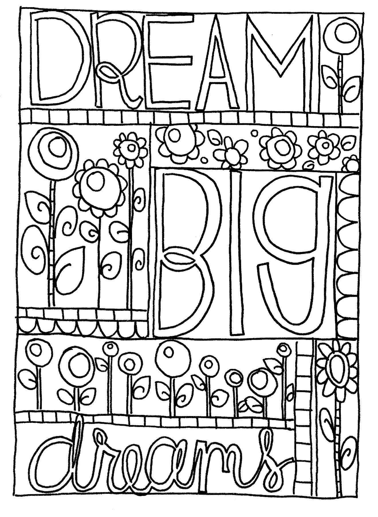 Dream Big Coloring