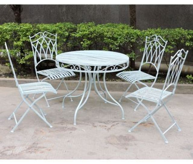 Charles Bentley  Piece Wrought Iron Garden Furniture Set Blue
