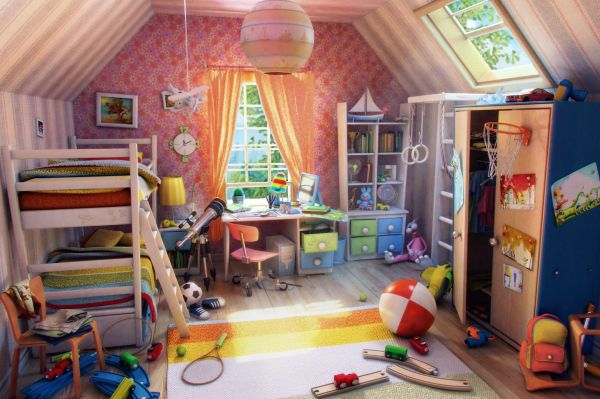 Childrens Room 3d Illustration Interior