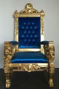 Hollywood regency royal blue & gold xl lion head king ...