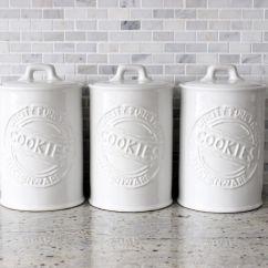 Kitchen Storage Canisters Modern Cabinet Hardware White Ceramic Cookie Jars