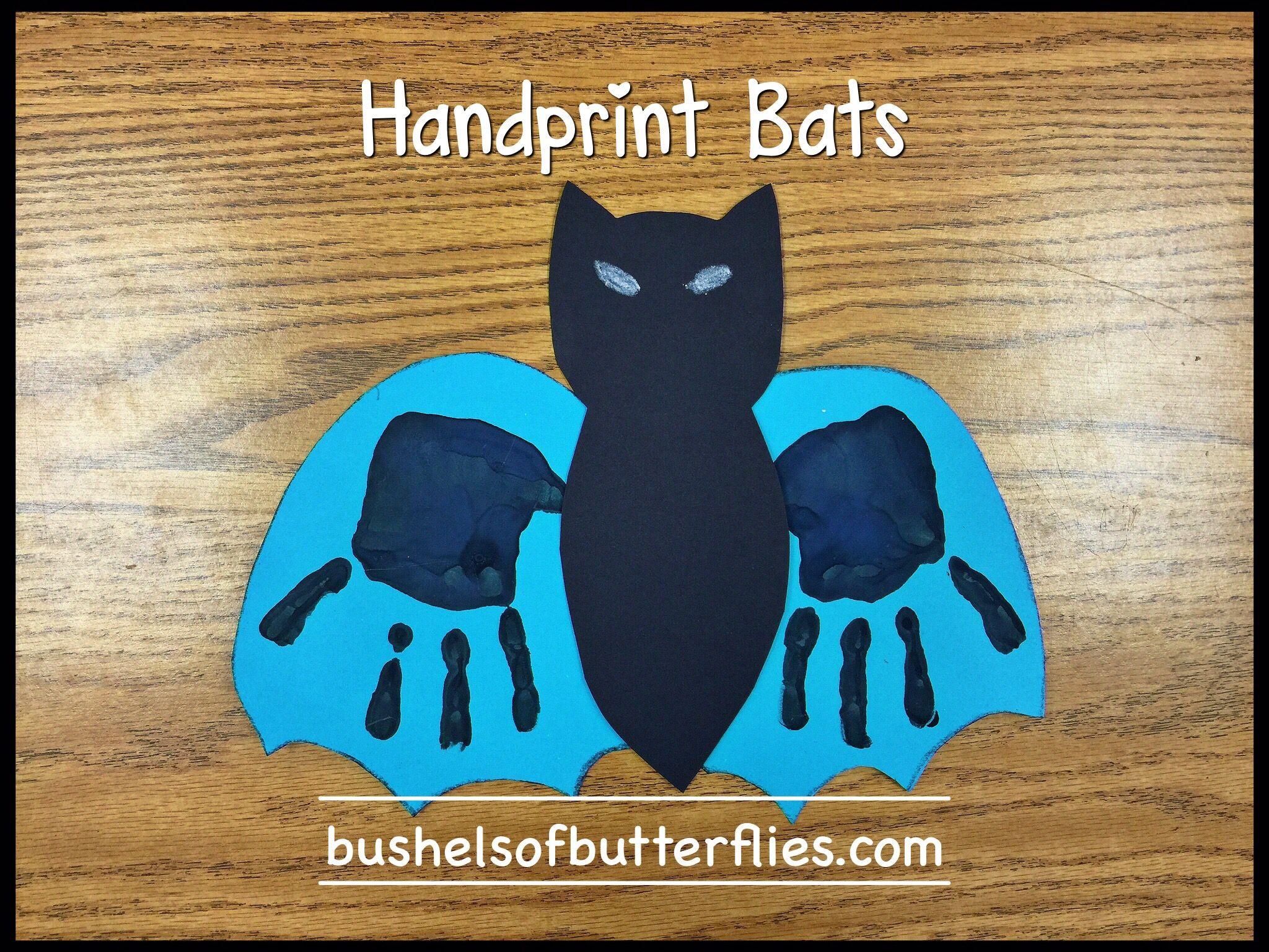 Handprint Bats Art Halloween Projects Kindergarten Fun