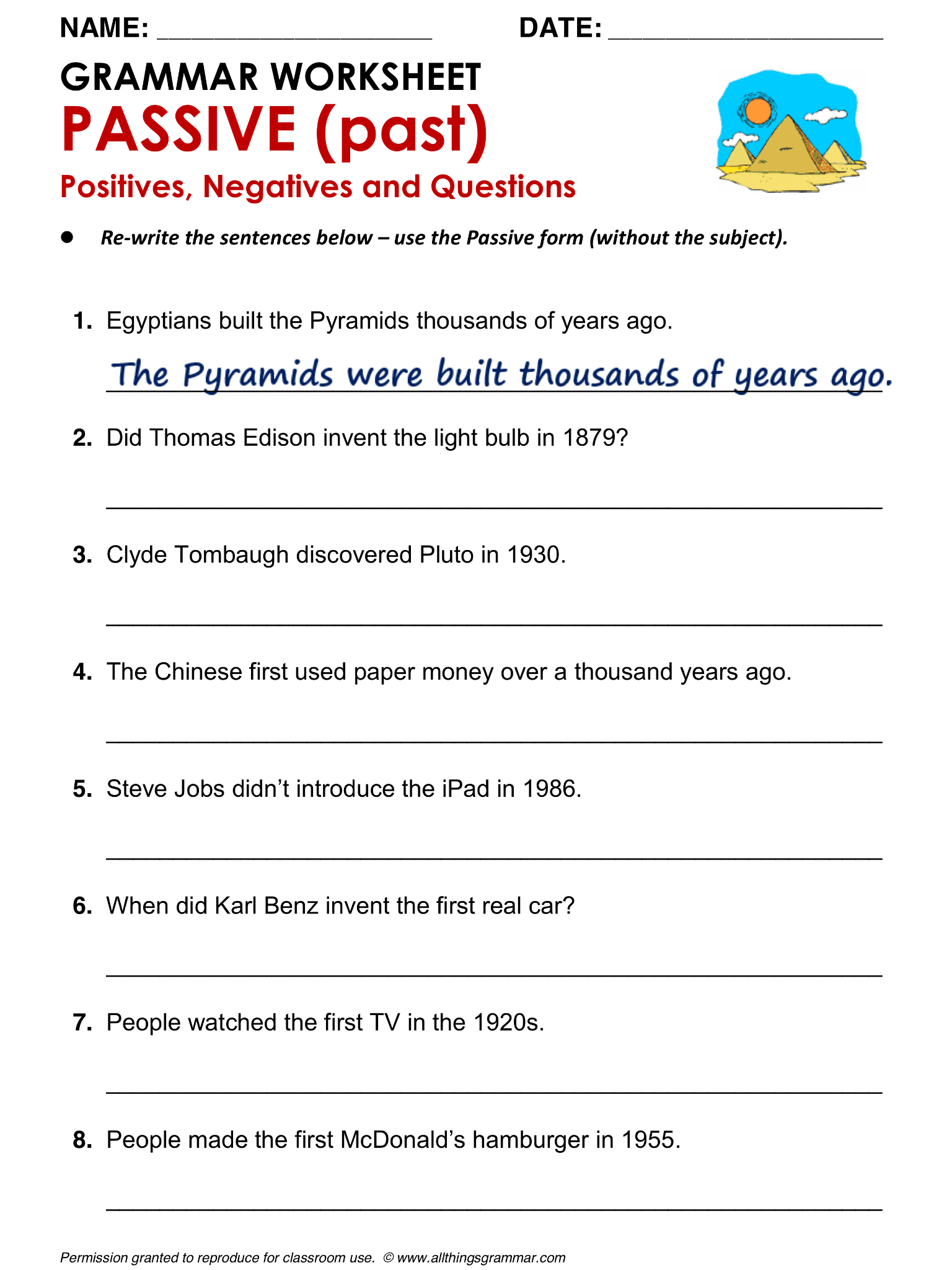 English Grammar Worksheet Passive Past Positives