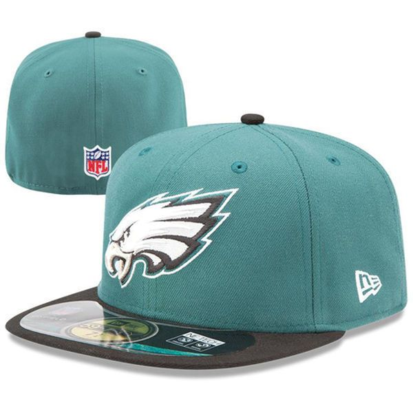 new nfl new era fifty fitted hat philadelphia eagles cap size green