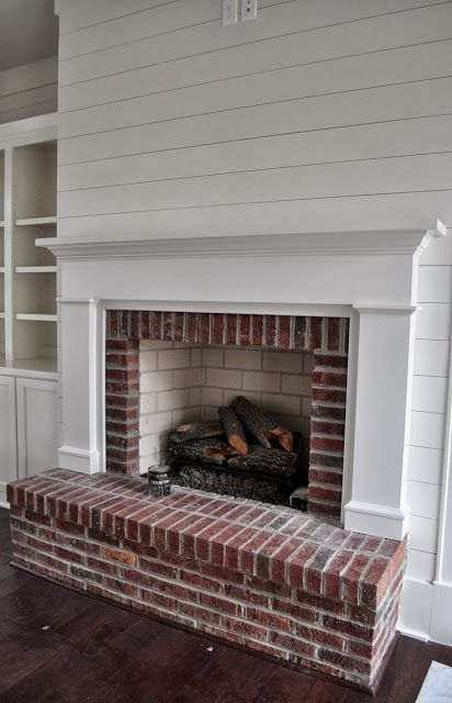 small living room ideas with brick fireplace open floor plan kitchen design white shiplap walls - google search ...