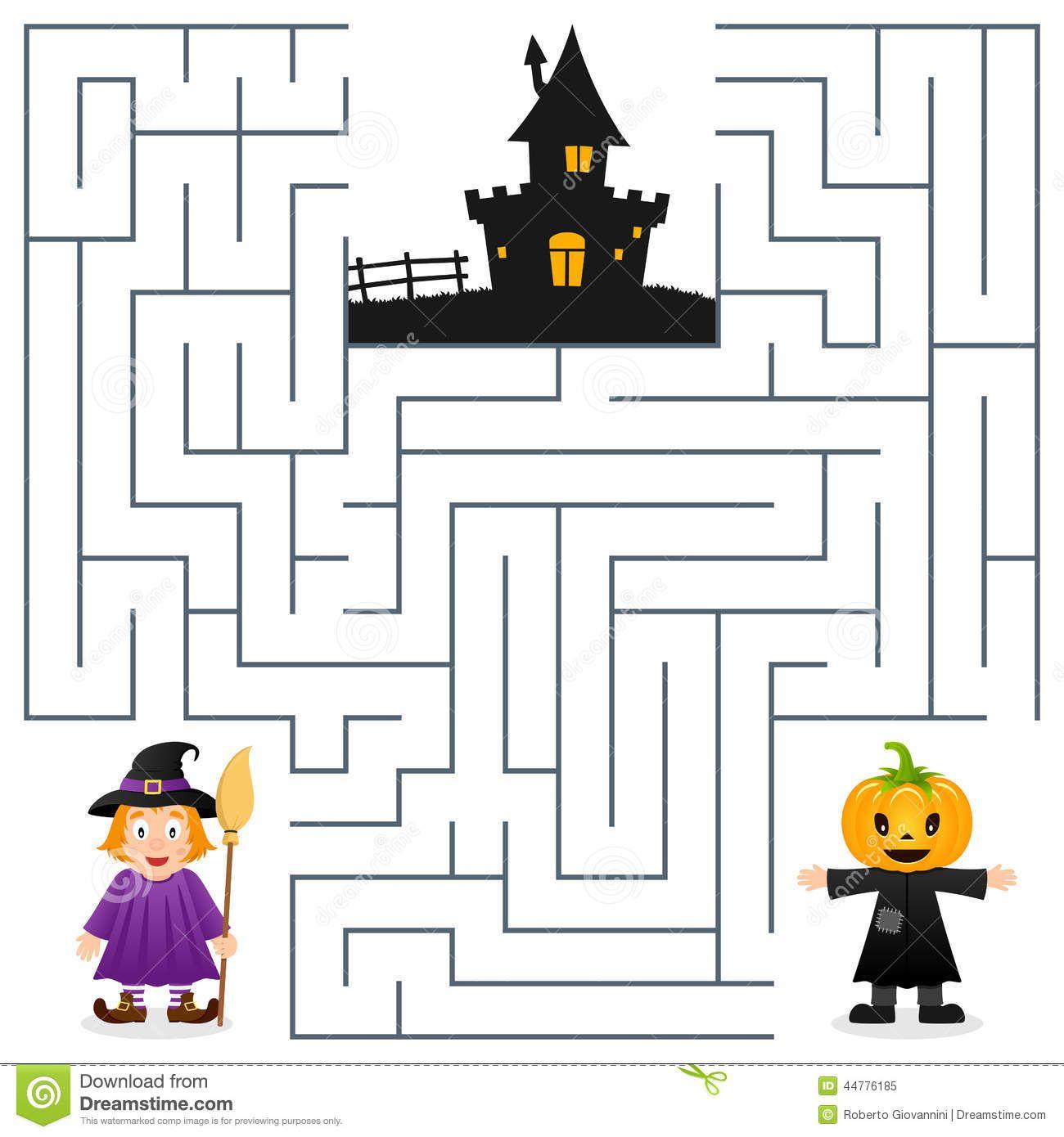 Halloween Maze Game For Kids Stock Photo