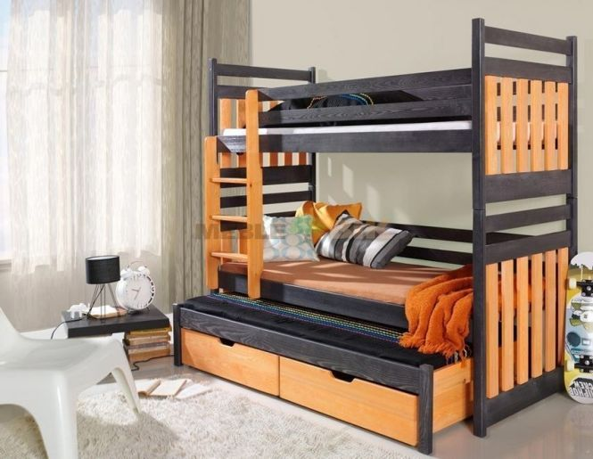 Brand New Kids Children Bunk Bed R With Trundle Mattresses Included