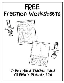 Two worksheets for practicing fractions: Practice equal
