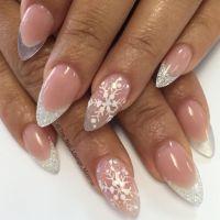 Christmas snowflakes stiletto nail art design   Nail Art ...